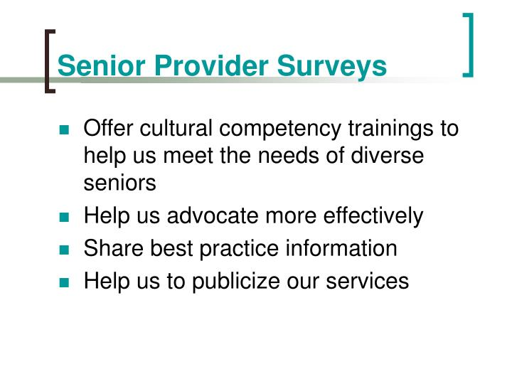 Senior Provider Surveys