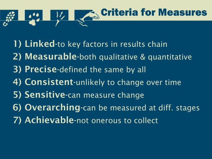 Criteria for Measures