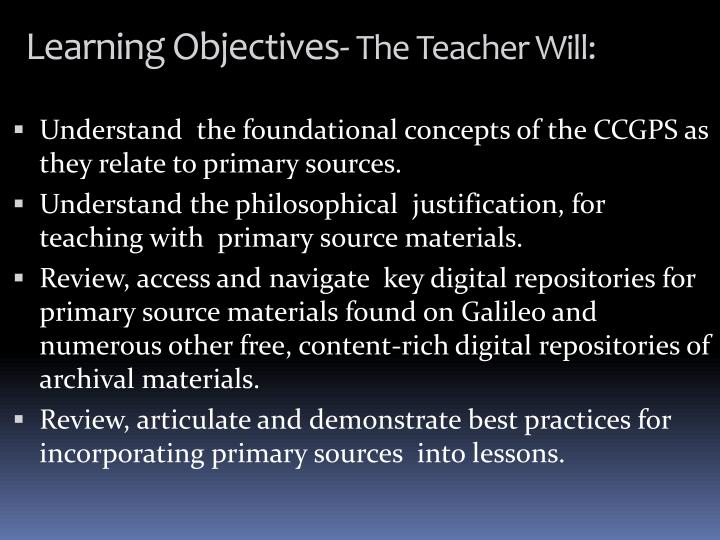 Learning Objectives-