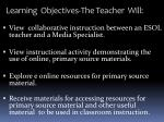 learning objectives the teacher will1