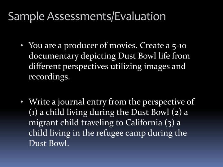 You are a producer of movies. Create a 5-10 documentary depicting Dust Bowl life from different perspectives utilizing images and recordings.