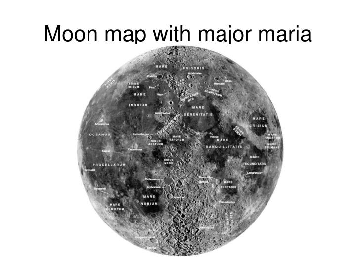 Moon map with major maria labeled