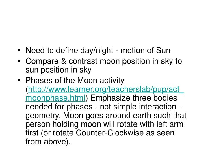 Need to define day/night - motion of Sun