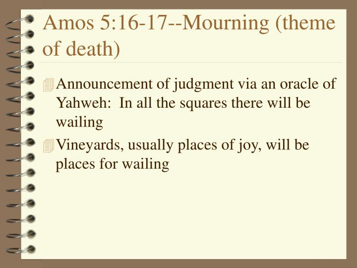 Amos 5:16-17--Mourning (theme of death)