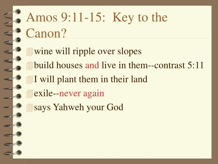 Amos 9:11-15:  Key to the Canon?