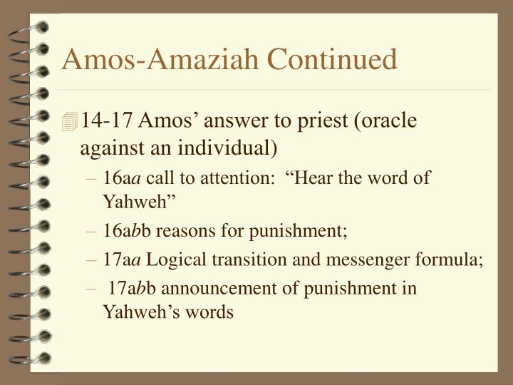 Amos amaziah continued