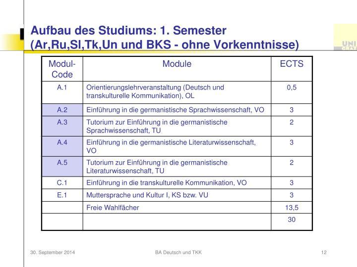 Aufbau des Studiums: 1. Semester
