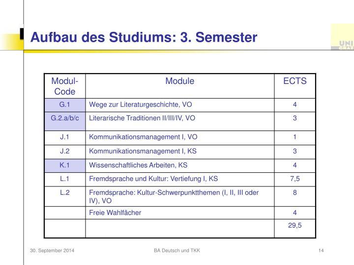 Aufbau des Studiums: 3. Semester