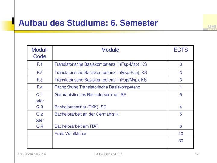 Aufbau des Studiums: 6. Semester