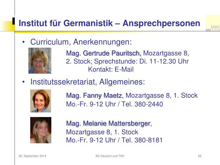 Institut für Germanistik – Ansprechpersonen
