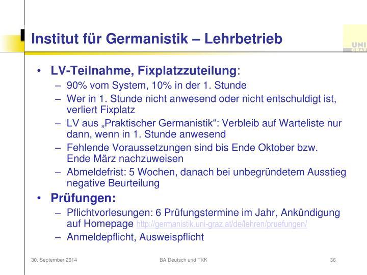 Institut für Germanistik – Lehrbetrieb