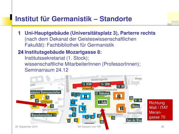 Institut für Germanistik – Standorte