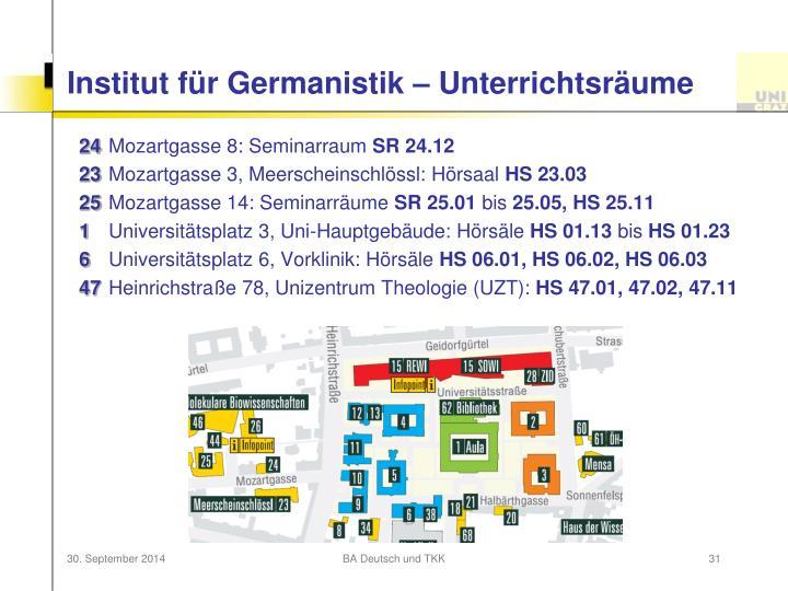 Institut für Germanistik – Unterrichtsräume