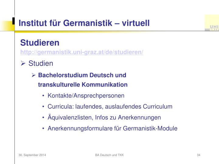 Institut für Germanistik – virtuell