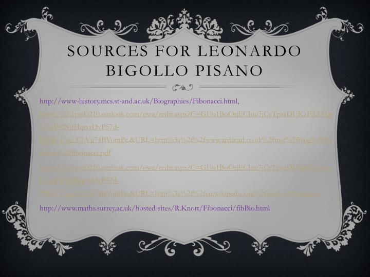 SOURCES For leonardo bigollo pisano