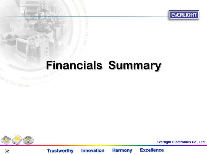 Financials  Summary