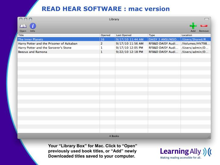READ HEAR SOFTWARE : mac version