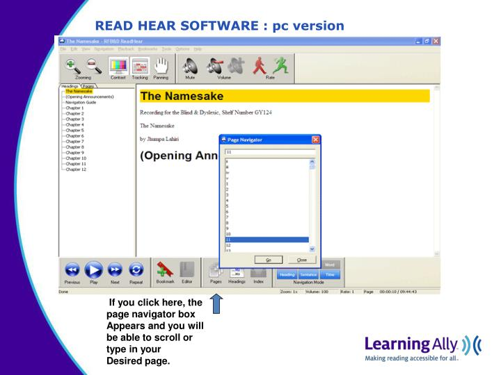 READ HEAR SOFTWARE : pc version