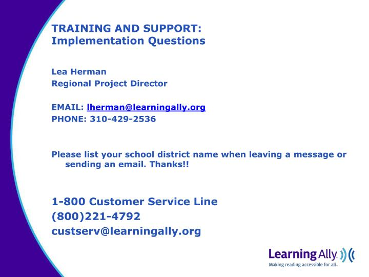 TRAINING AND SUPPORT: