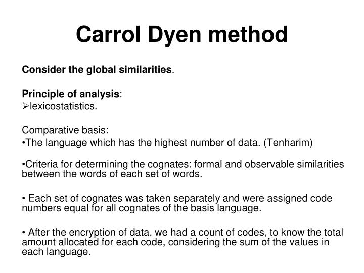 Carrol Dyen method