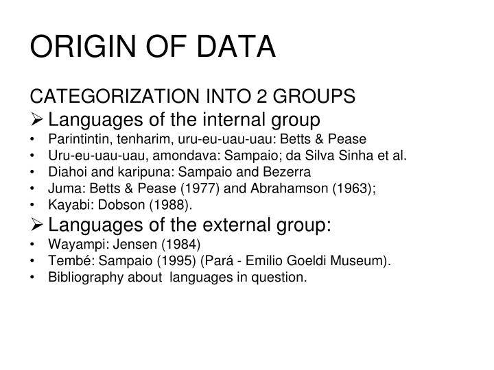 ORIGIN OF DATA