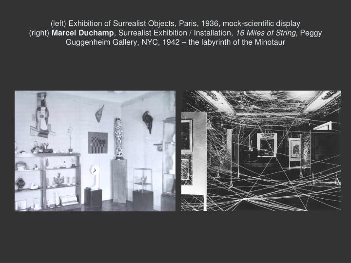 (left) Exhibition of Surrealist Objects, Paris, 1936, mock-scientific display