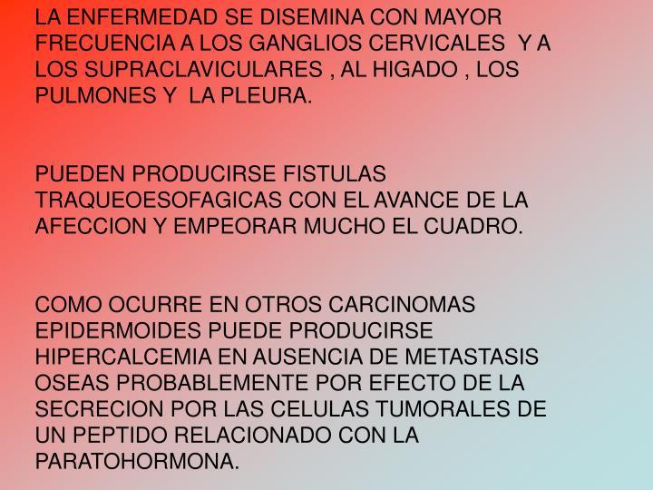 LA ENFERMEDAD SE DISEMINA CON MAYOR FRECUENCIA A LOS GANGLIOS CERVICALES  Y A LOS SUPRACLAVICULARES , AL HIGADO , LOS PULMONES Y  LA PLEURA.