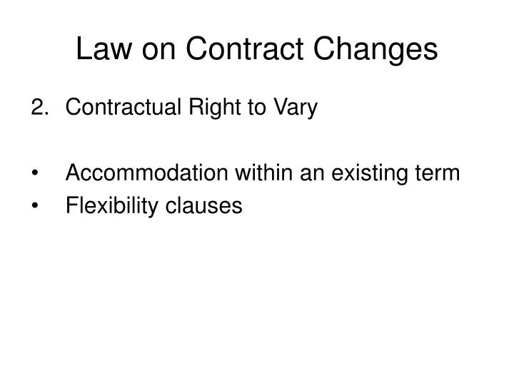Law on Contract Changes