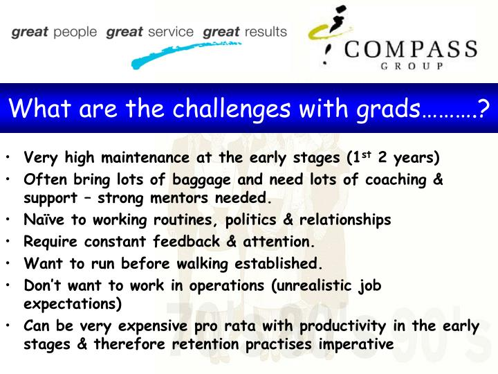 What are the challenges with grads……….?