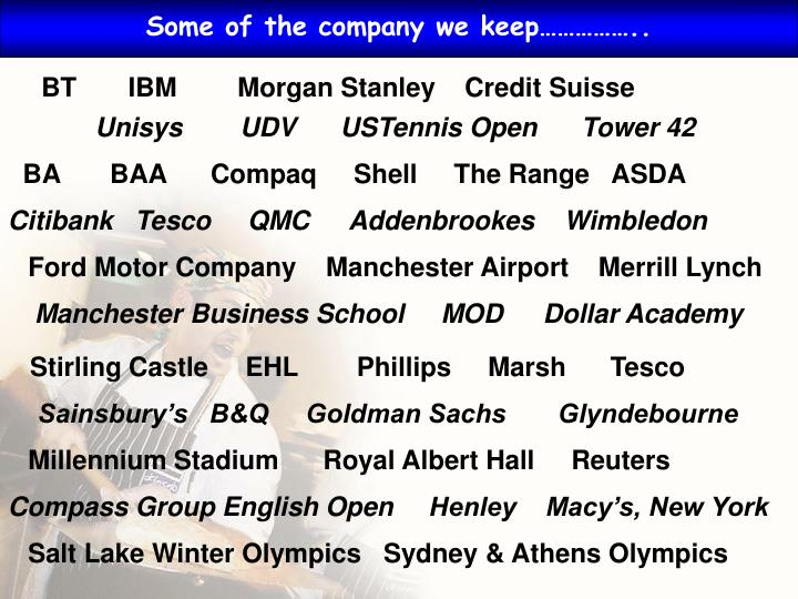 Some of the company we keep……………..