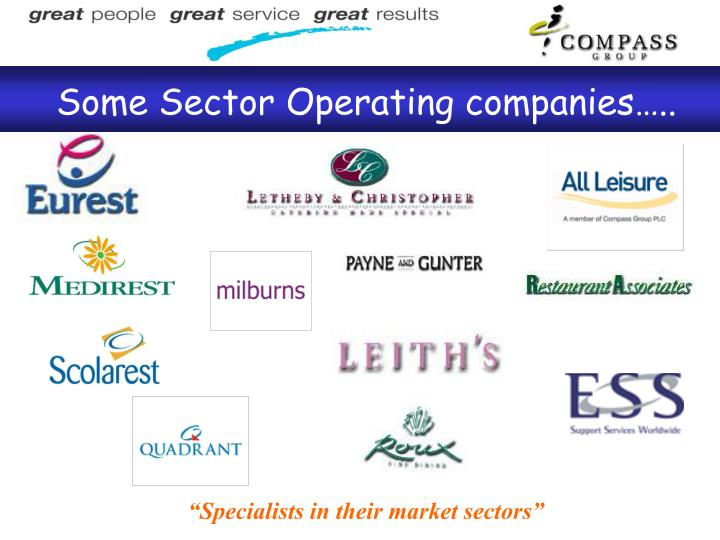 Some Sector Operating companies…..