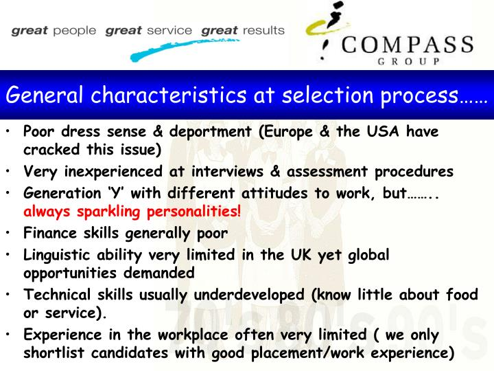 General characteristics at selection process……