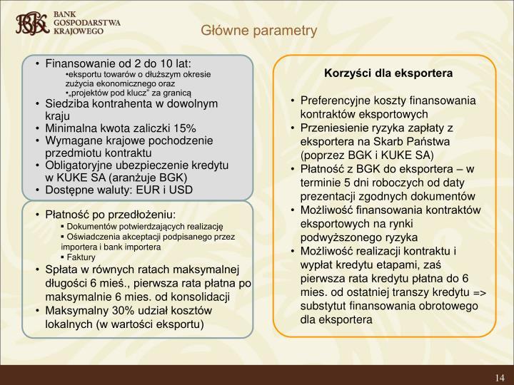Główne parametry