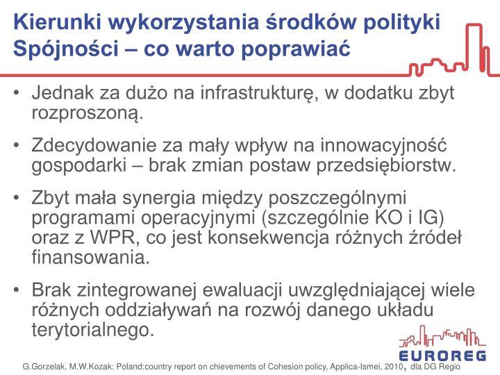 Kierunki wykorzystania środków polityki Spójności – co warto poprawiać