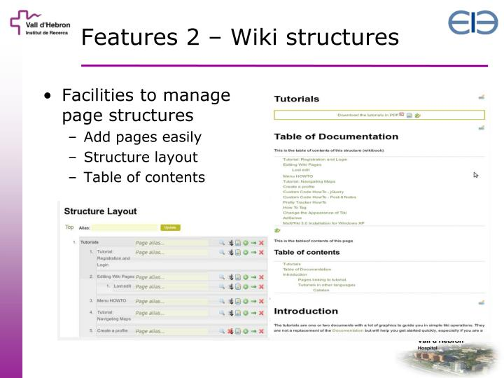 Features 2 – Wiki structures