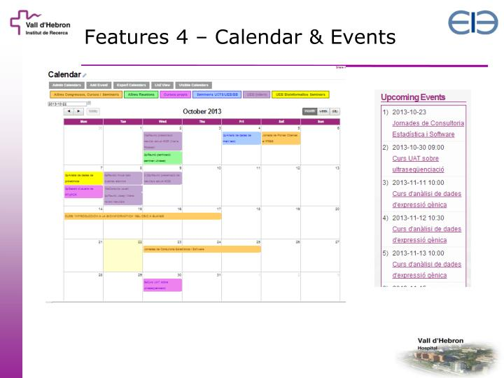 Features 4 – Calendar & Events