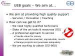 ueb goals we aim at