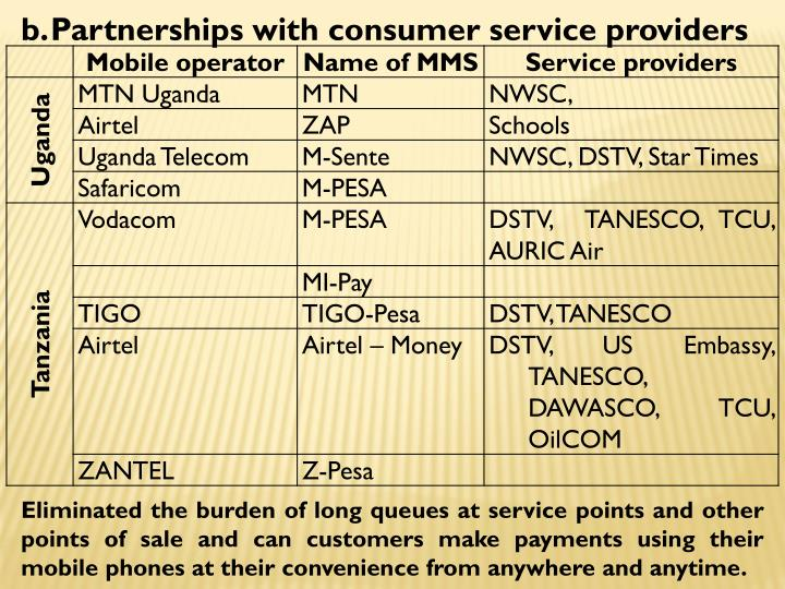 Partnerships with consumer service providers