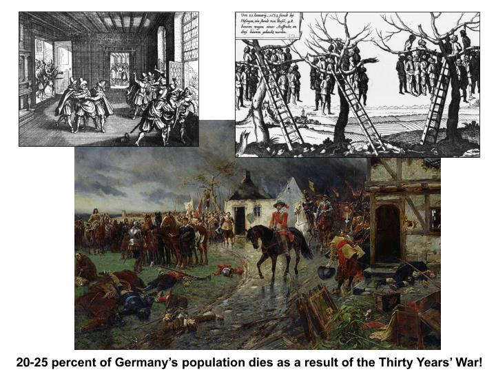 20-25 percent of Germany's population dies as a result of the Thirty Years' War!