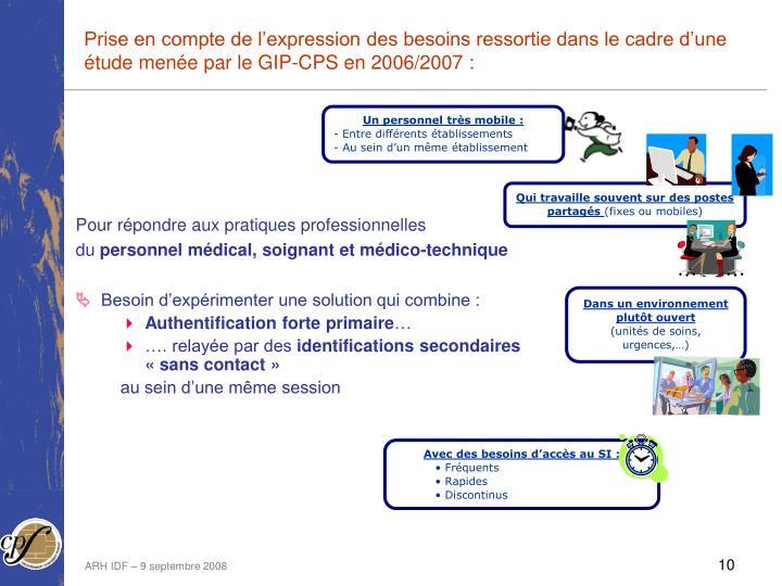 Prise en compte de l'expression des besoins ressortie dans le cadre d'une étude menée par le GIP-CPS en 2006/2007