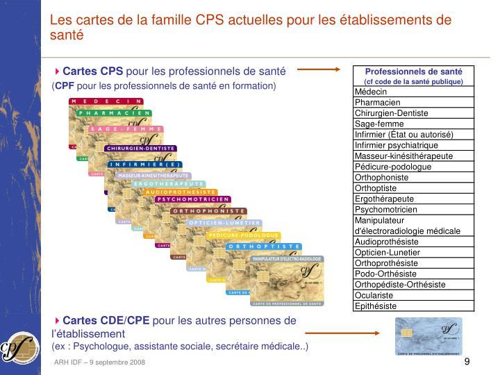 Les cartes de la famille CPS actuelles pour les établissements de santé