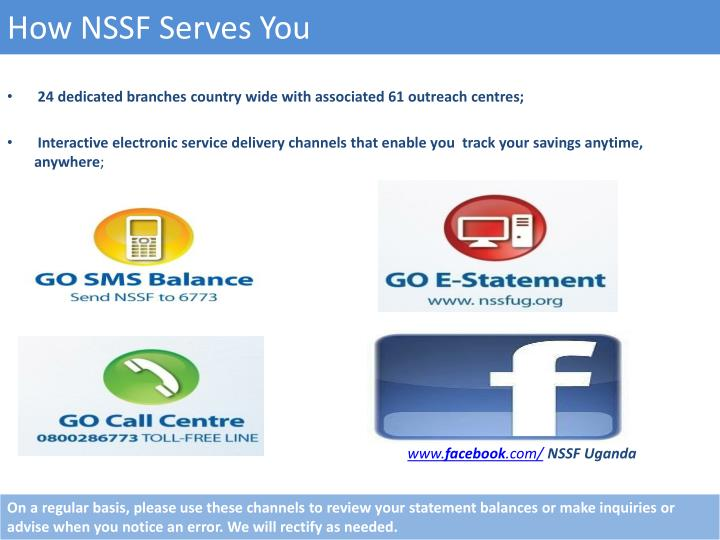 How NSSF Serves You