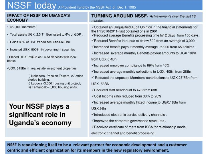 Nssf today a provident fund by the nssf act of dec 1 1985