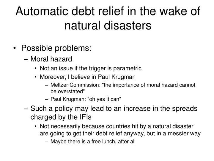 Automatic debt relief in the wake of natural disasters