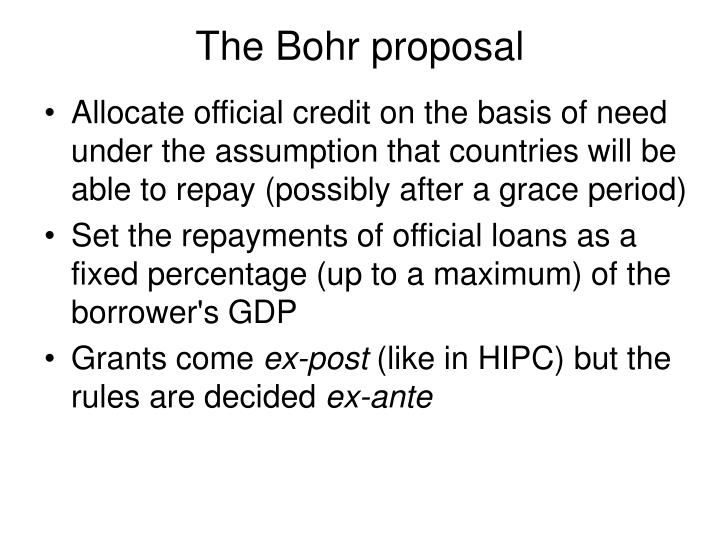 The Bohr proposal