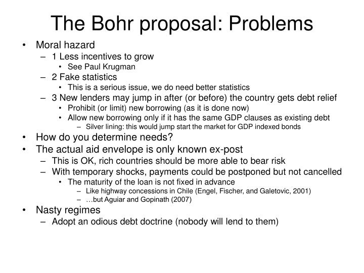 The Bohr proposal: Problems