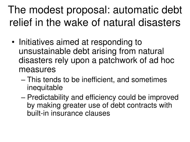 The modest proposal: automatic debt relief in the wake of natural disasters