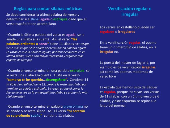 Reglas para contar sílabas métricas