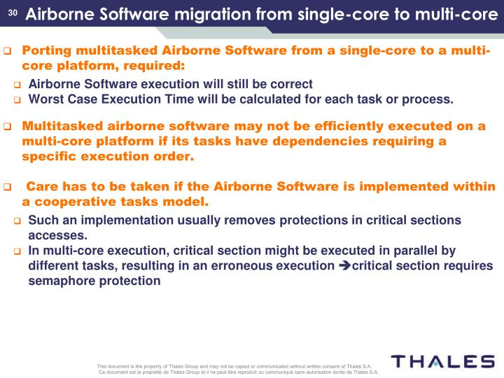 Airborne Software migration from single-core to