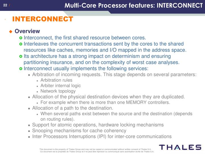 Multi-Core Processor features: INTERCONNECT